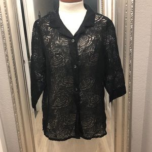 VTG SHEER FRENCH LAUNDRY FLORAL BUTTON-UP BLOUSE